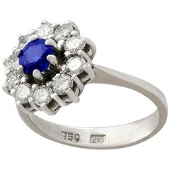 Vintage Sapphire Diamond White Gold Cluster Ring