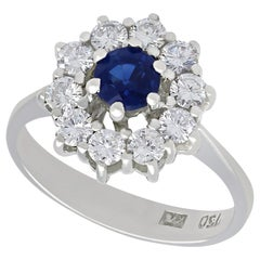 Vintage Sapphire and Diamond White Gold Cluster Ring