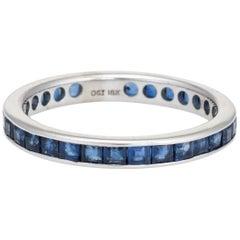 Vintage Sapphire Eternity Ring Blue Box Cut 18 Karat White Gold Estate Jewelry
