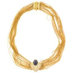 Vintage Sapphire Heart Shaped Diamond Multi Stranded Artisan 18K Gold Necklace