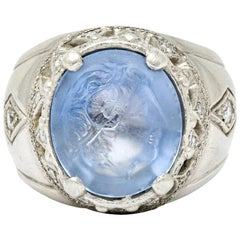 Vintage Sapphire Platinum Zeus Ammon Cameo Men's Ring