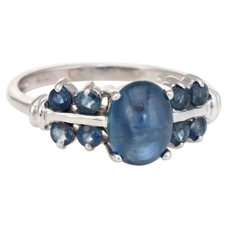 67178370a Vintage Sapphire Ring Blue Cabochon 9 Karat White Gold Estate Fine Jewelry  For Sale