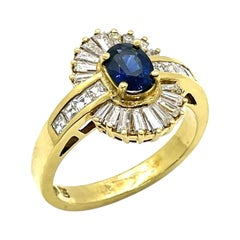 Vintage Sapphire Ring with Baguette Diamonds Set in 18k Gold, Circa 1985
