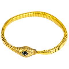 Vintage Sapphire, Rose Cut Diamond and 18 Carat Gold Snake Bracelet