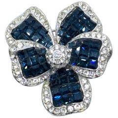 Vintage Sapphire Swarovski Crystal Flower Brooch