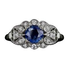 Vintage Sapphire White Diamond Cocktail White Diamond Ring