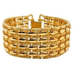 Vintage Sarah Coventry Gold Modernist Textured Weave Bracelet 1960s