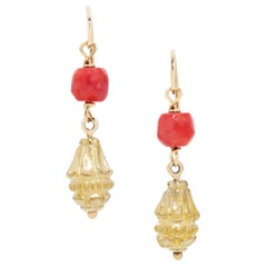 Vintage Sardinian Coral and Antique Egyptian Amulet Earrings in 22 & 18 Karat YG
