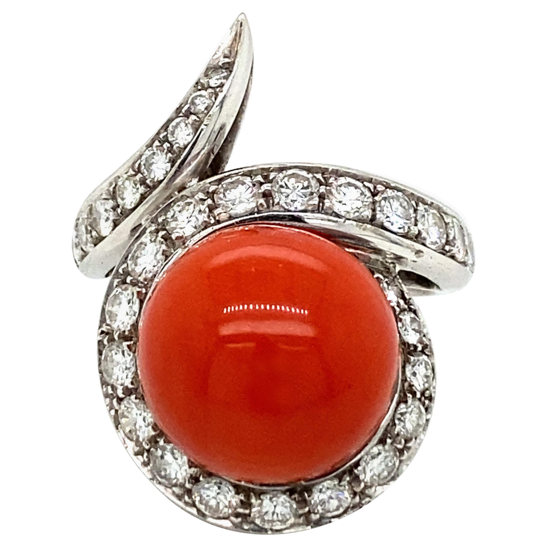 Vintage Sardinian Coral Diamond Gold Cocktail Ring