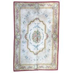 Vintage Savonnerie Style Hand Tufted Rug