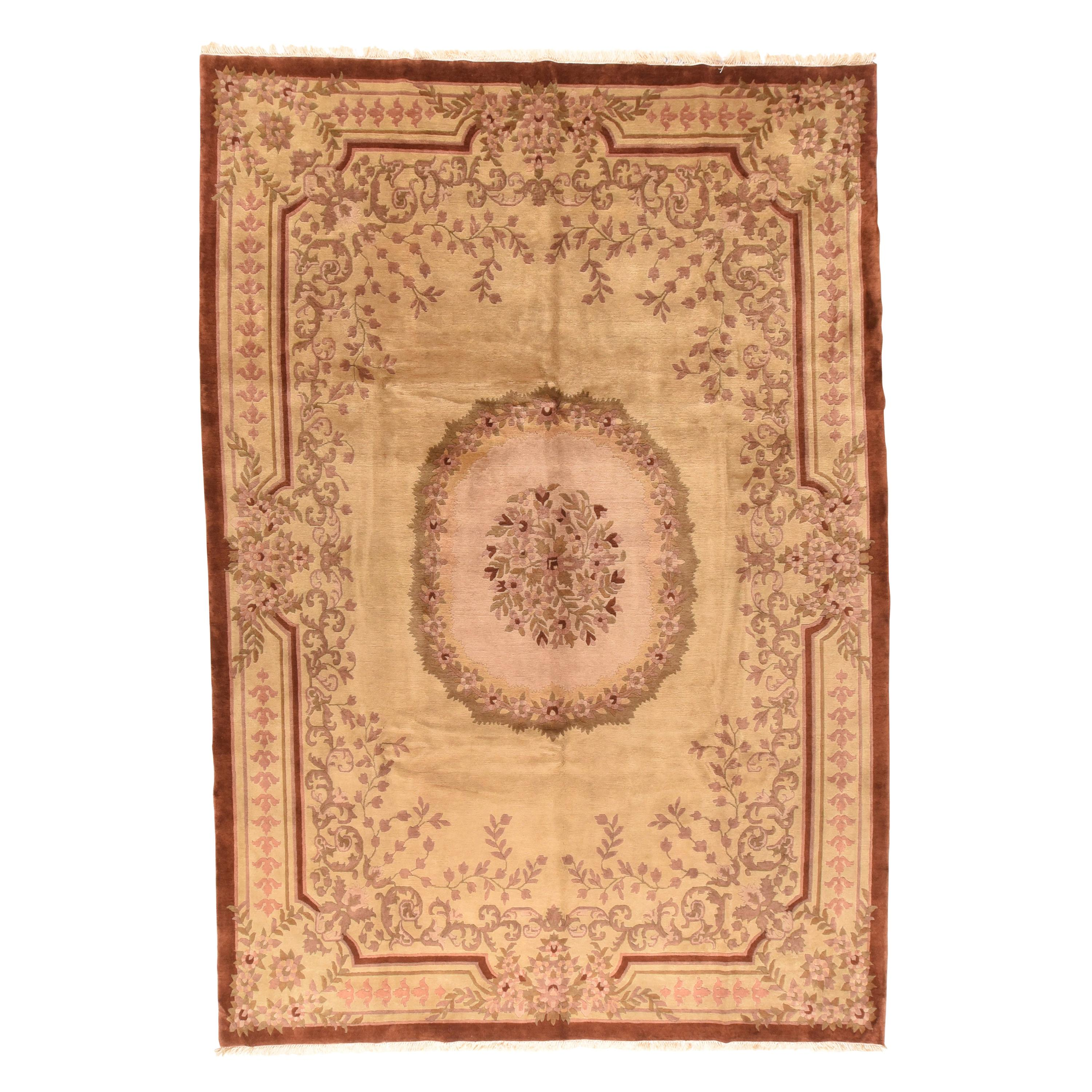 Vintage Savonnerie Weave Rug, Hand Knotted, circa 1950s
