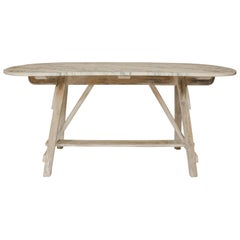Vintage Sawhorse Table with Vermont Marble Top