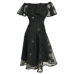 Vintage SCAASI Black Off Shoulder Ruffle Cocktail Dress