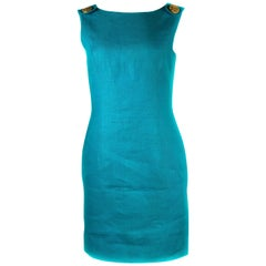 Vintage SCAASI Blue Turquoise Linen Sleeveless Mini Dress w/ Gold Buttons Size 4