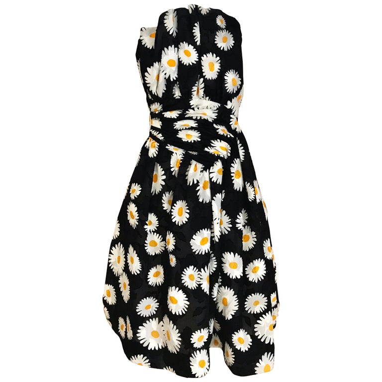 Vintage Scaasi Daisy Print Strapless Cocktail Dress For Sale