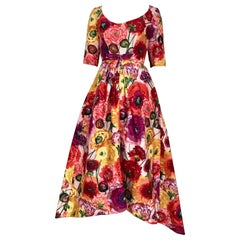 Vintage Scaasi  Multi Color Floral Silk Gown