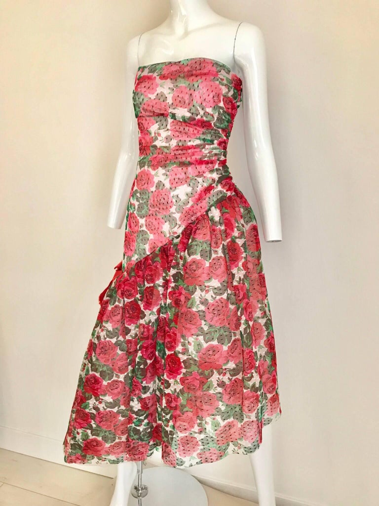 Vintage SCAASI Strapless Red Floral Print Strapless Cocktail Dress For Sale 5