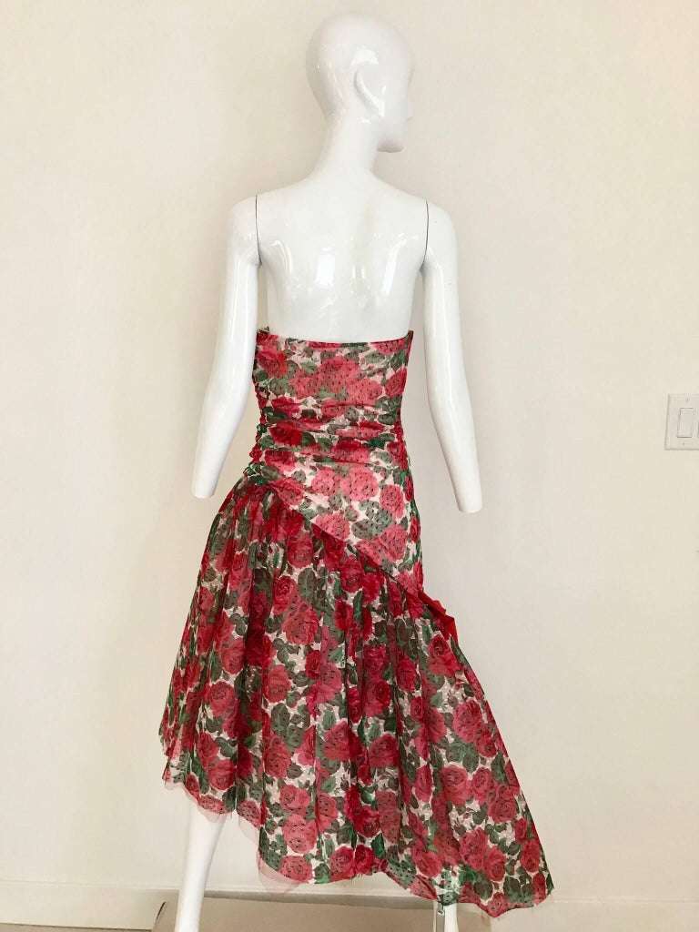 Women's Vintage SCAASI Strapless Red Floral Print Strapless Cocktail Dress For Sale