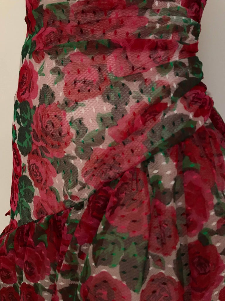 Vintage SCAASI Strapless Red Floral Print Strapless Cocktail Dress For Sale 4