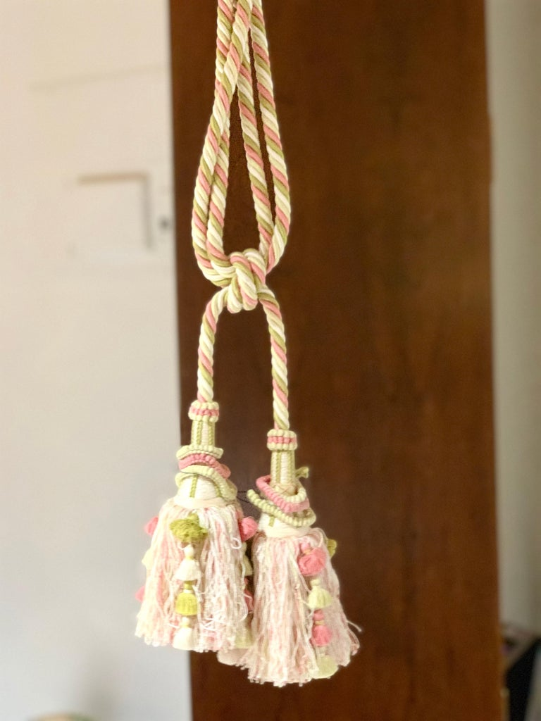 Vintage Scalamandre pink, cream, green tassel tie-backs, home accessory, curtain. Three tassel pairs available. Listing is for single pair as shown in images 1 and 2.