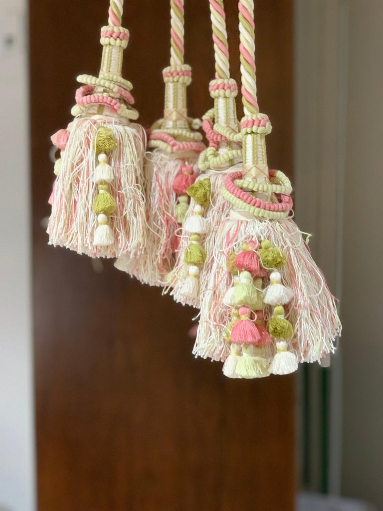 French Provincial Vintage Scalamandre Pink, Cream, Green Tassel Tie-Backs, Home Accessory, Curtain For Sale