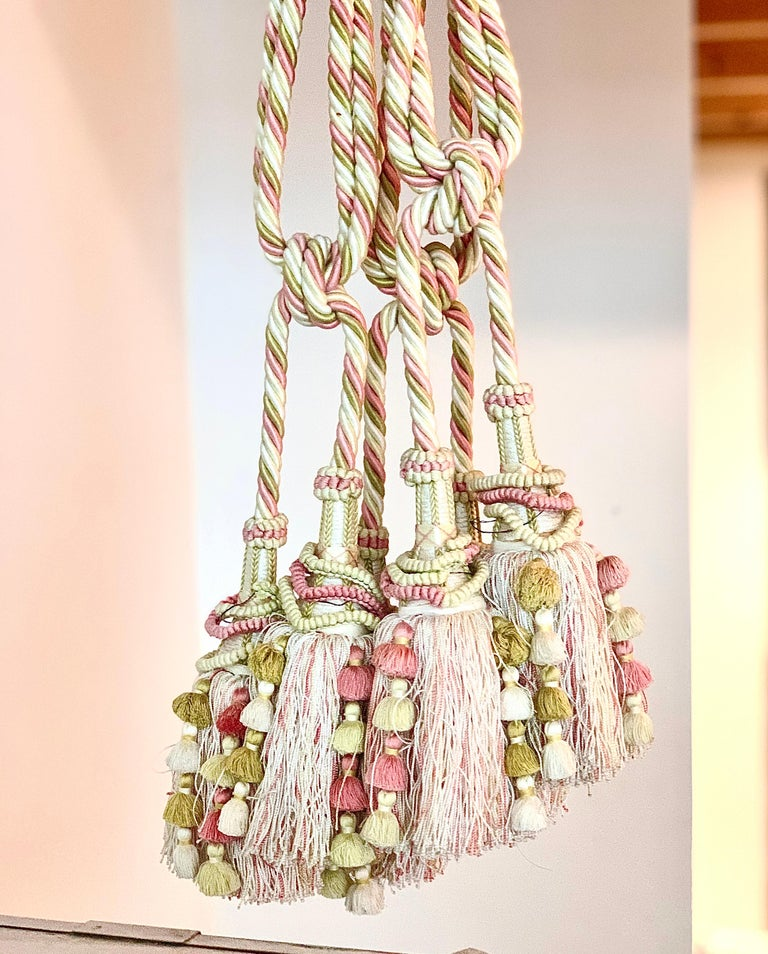 French Vintage Scalamandre Pink, Cream, Green Tassel Tie-Backs, Home Accessory, Curtain For Sale