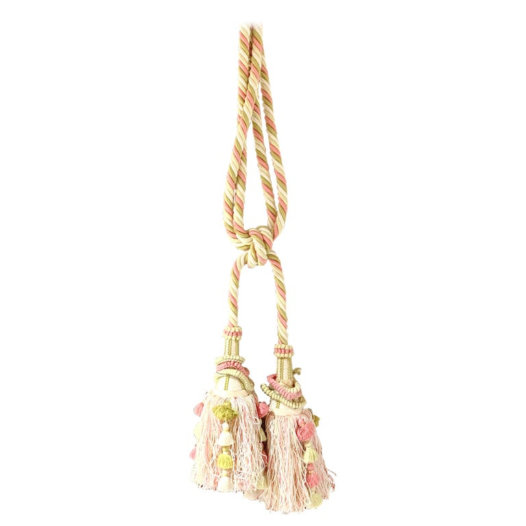 Vintage Scalamandre Pink, Cream, Green Tassel Tie-Backs, Home Accessory, Curtain For Sale