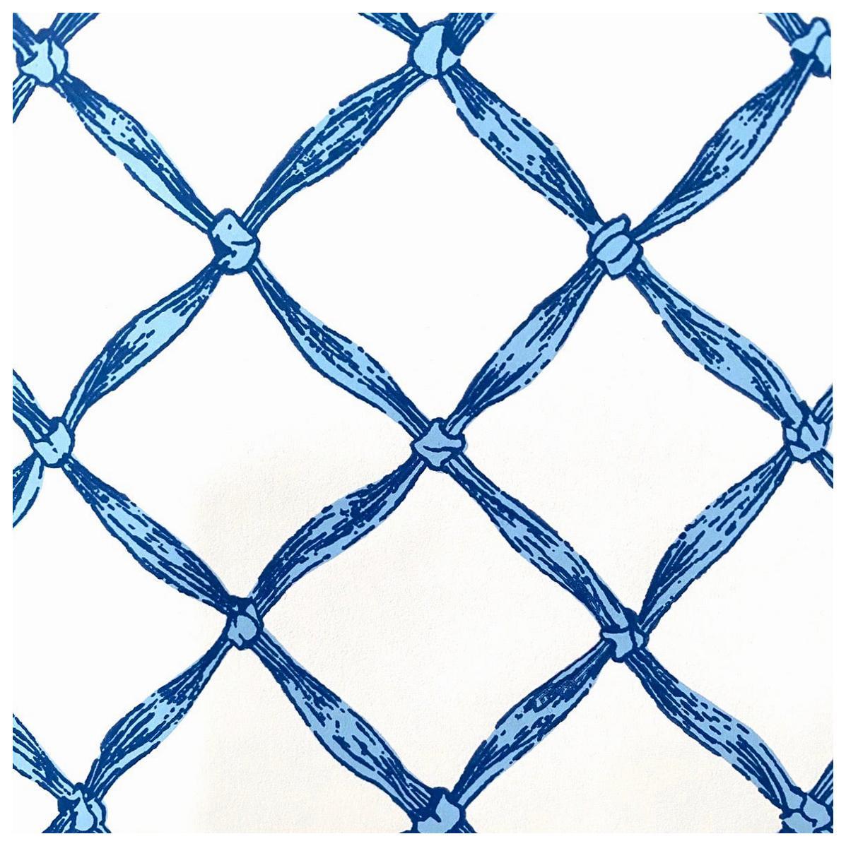 Vintage Scalamandre Trompe L'Oeil Normandy Blue Ribbon, French Wallpaper, 1986