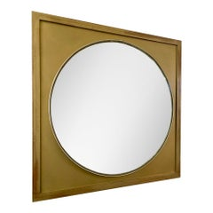Vintage Scandi Round Mirror with Square Gold Frame, c.1970