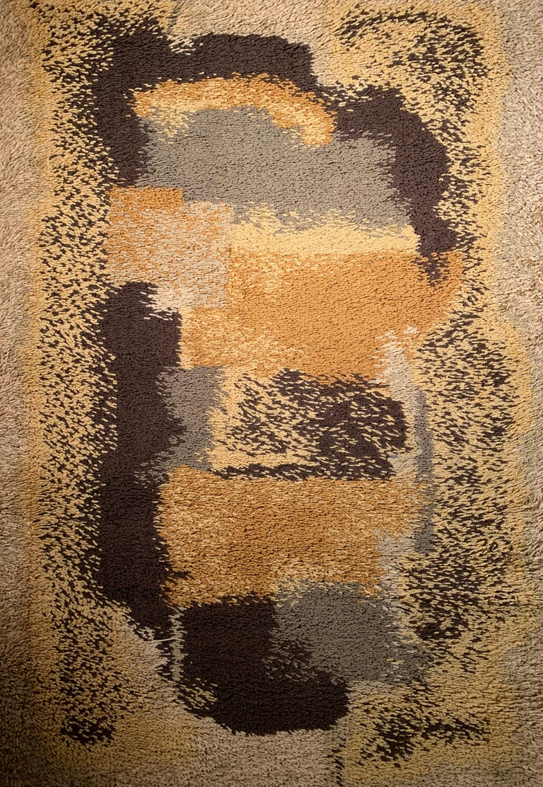 Mid-Century Modern Vintage Scandinavian Abstract Rya Rug For Sale