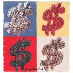 Vintage Scandinavian (after) Andy Warhol Dollar Sign Pop Art Rug