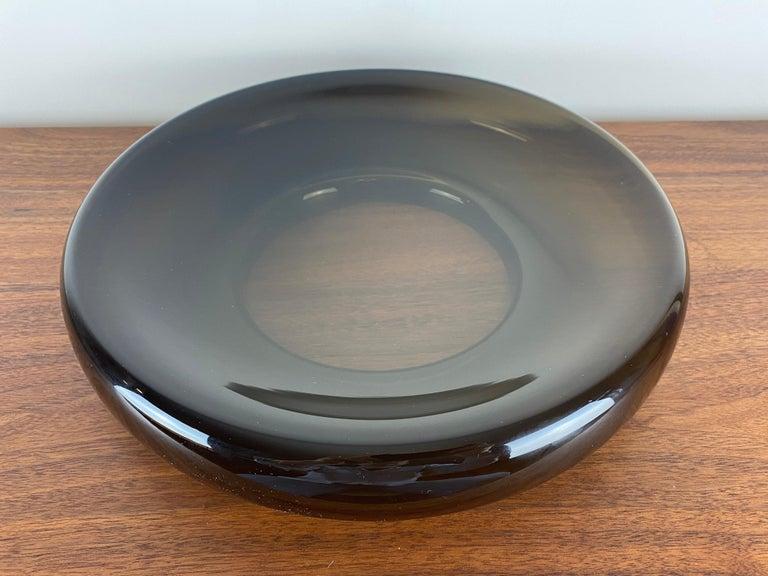 Scandinavian Modern Vintage Scandinavian Amber Glass Centerpiece Bowl For Sale