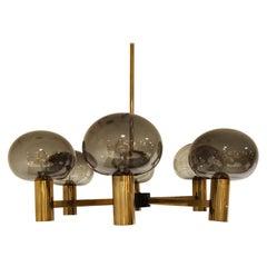 Vintage Scandinavian Brass and Glass Chandelier, 1960s