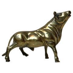 Vintage Scandinavian Bull Sculpture in Brass, 1960s