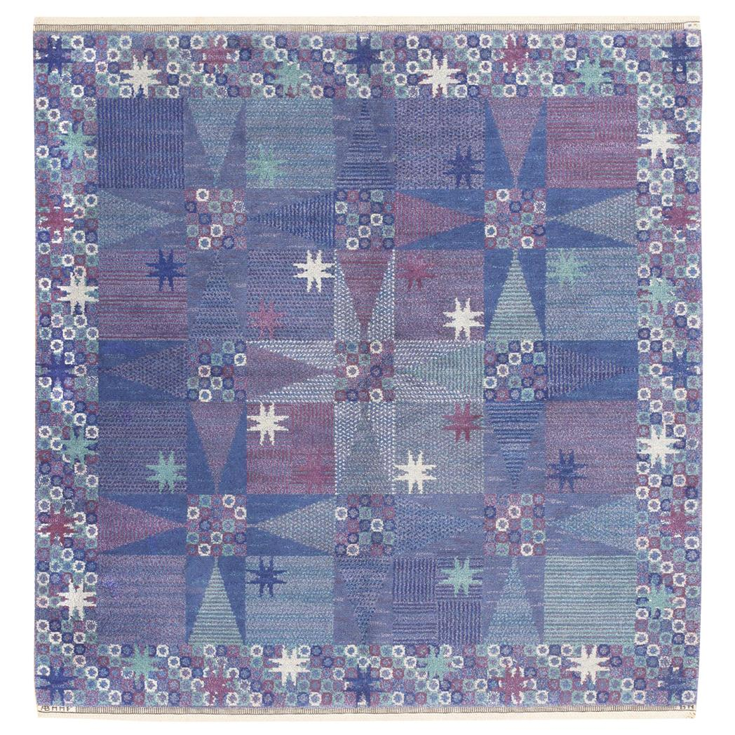 Vintage Scandinavian Carpet by Barbo Nilsson for MMF. Size: 6 ft x 6 ft