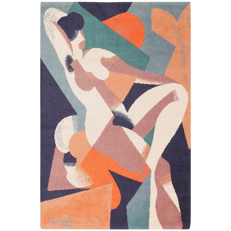 "Vintage Scandinavian Carpet by Ege After René Magritte. Size: 4' 7"" x 6' 7"""