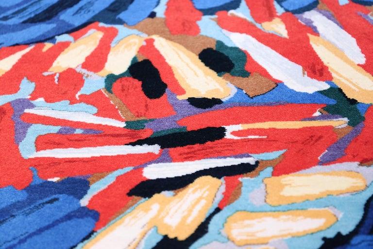 Scandinavian Modern Vintage Scandinavian Clown Cat Karel Appel Design Art Rug  For Sale