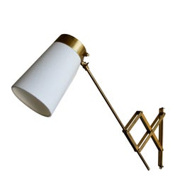 Vintage Scandinavian Concertina Articulated Brass Wall Light, Denmark circa 1950