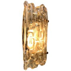 Vintage Scandinavian Crystal & Brass Sconce from Orrefors, 1960s