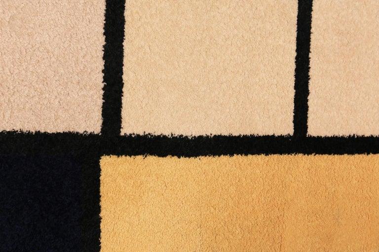 Mid-Century Modern Vintage Scandinavian Danish Art Rug Attributed to Piet Mondrian For Sale