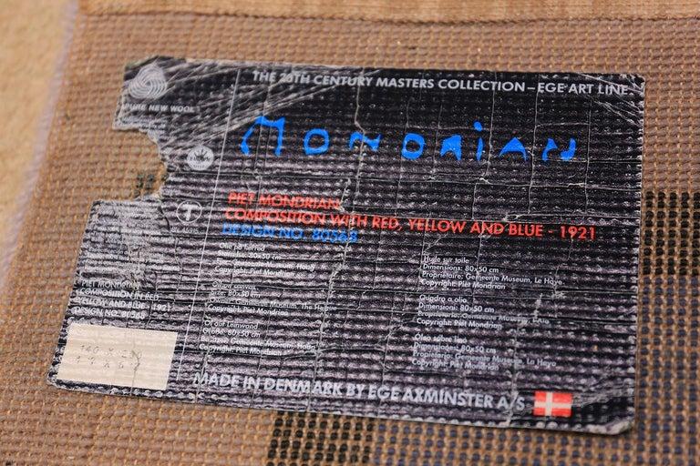 Vintage Scandinavian Danish Art Rug Attributed to Piet Mondrian For Sale 1