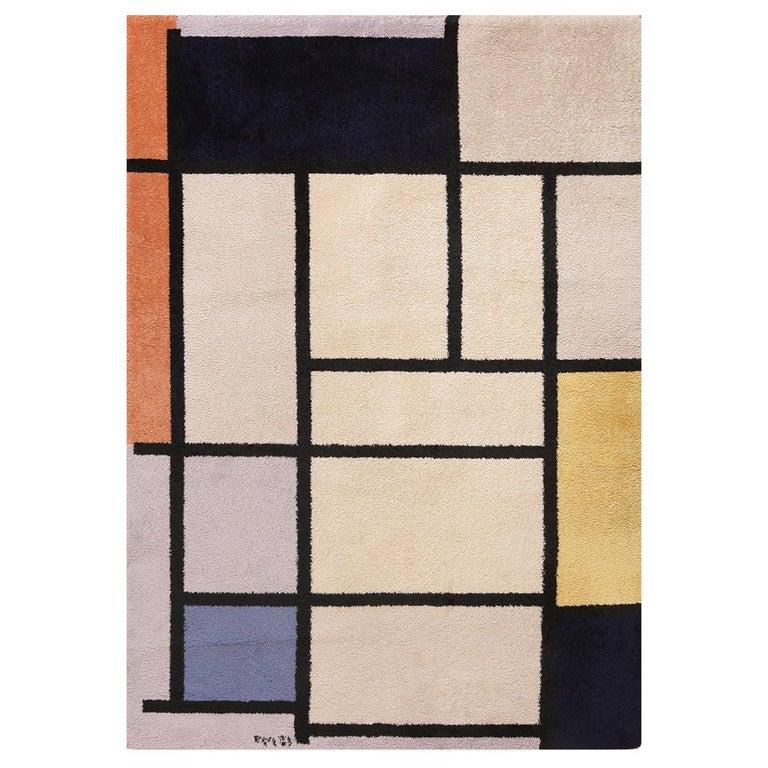 Vintage Scandinavian Danish Art Rug Attributed to Piet Mondrian For Sale