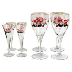 Vintage Scandinavian Design Christmas Crystal Set of 4 Wine and Liquor Glasses