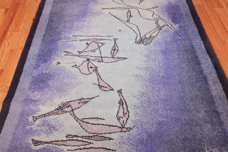 Vintage Scandinavian Fish Rug by Ege after Klee. Size: 4 ft 7 in x 6 ft 7 in  In Excellent Condition For Sale In New York, NY