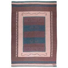 Vintage Scandinavian Flat-WeaveWool RugWoven Initials & Date to Edge 'Io 1928'