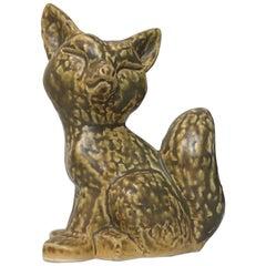 Vintage Scandinavian Fox Pottery Figurine by Kaare Berven Fjeldsaa, 1960s
