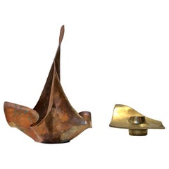 Vintage Scandinavian Freeform Candleholders in Copper and Bronze