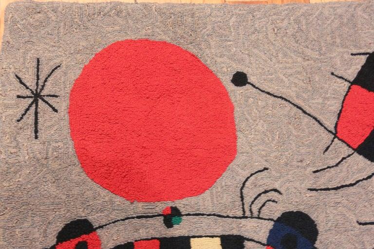 Beautiful Vintage Scandinavian Joan Miró Tapestry Rug, Origin: Scandinavia, Circa: Mid – 20th Century - Size: 2 ft 9 in x 3 ft 7 in (0.84 m x 1.09 m).