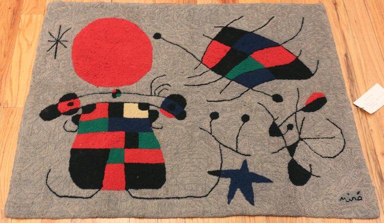 Wool Vintage Scandinavian Joan Miró Tapestry 2 ft 9 in x 3 ft 7 in For Sale