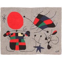 Vintage Scandinavian Joan Miró Tapestry 2 ft 9 in x 3 ft 7 in